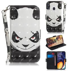 Angry Bear 3D Painted Leather Wallet Phone Case for Samsung Galaxy A60