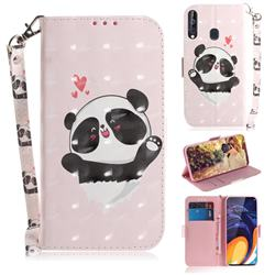 Heart Cat 3D Painted Leather Wallet Phone Case for Samsung Galaxy A60