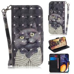 Cat Embrace 3D Painted Leather Wallet Phone Case for Samsung Galaxy A60