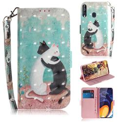 Black and White Cat 3D Painted Leather Wallet Phone Case for Samsung Galaxy A60