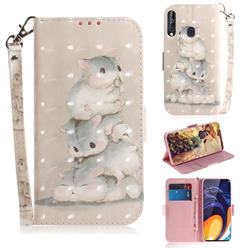 Three Squirrels 3D Painted Leather Wallet Phone Case for Samsung Galaxy A60