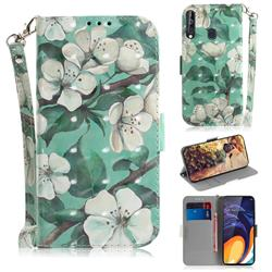 Watercolor Flower 3D Painted Leather Wallet Phone Case for Samsung Galaxy A60