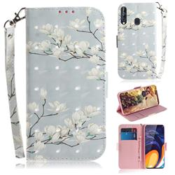 Magnolia Flower 3D Painted Leather Wallet Phone Case for Samsung Galaxy A60