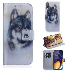 Snow Wolf PU Leather Wallet Case for Samsung Galaxy A60