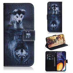 Wolf and Dog PU Leather Wallet Case for Samsung Galaxy A60