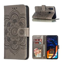 Intricate Embossing Datura Solar Leather Wallet Case for Samsung Galaxy A60 - Gray