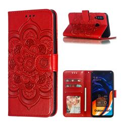 Intricate Embossing Datura Solar Leather Wallet Case for Samsung Galaxy A60 - Red