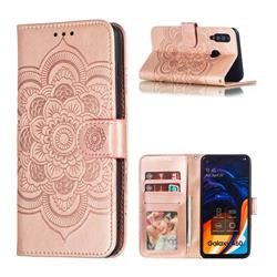 Intricate Embossing Datura Solar Leather Wallet Case for Samsung Galaxy A60 - Rose Gold