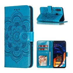 Intricate Embossing Datura Solar Leather Wallet Case for Samsung Galaxy A60 - Blue