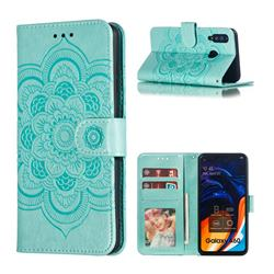 Intricate Embossing Datura Solar Leather Wallet Case for Samsung Galaxy A60 - Green