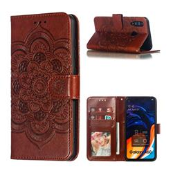 Intricate Embossing Datura Solar Leather Wallet Case for Samsung Galaxy A60 - Brown