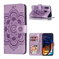 Intricate Embossing Datura Solar Leather Wallet Case for Samsung Galaxy A60 - Purple