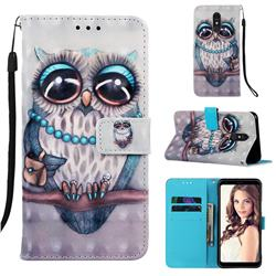 Sweet Gray Owl 3D Painted Leather Wallet Case for Samsung Galaxy A60