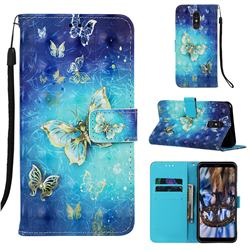 Gold Butterfly 3D Painted Leather Wallet Case for Samsung Galaxy A60