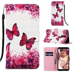 Rose Butterfly 3D Painted Leather Wallet Case for Samsung Galaxy A60