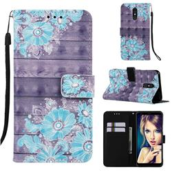 Blue Flower 3D Painted Leather Wallet Case for Samsung Galaxy A60