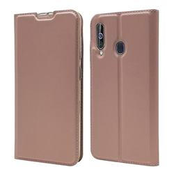 Ultra Slim Card Magnetic Automatic Suction Leather Wallet Case for Samsung Galaxy A60 - Rose Gold