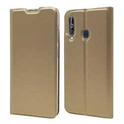 Ultra Slim Card Magnetic Automatic Suction Leather Wallet Case for Samsung Galaxy A60 - Champagne