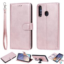 Retro Greek Detachable Magnetic PU Leather Wallet Phone Case for Samsung Galaxy A60 - Rose Gold