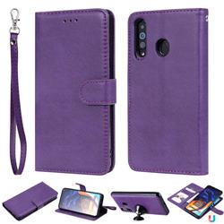 Retro Greek Detachable Magnetic PU Leather Wallet Phone Case for Samsung Galaxy A60 - Purple