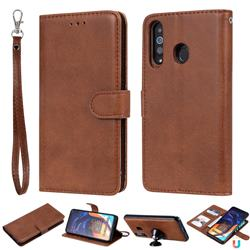 Retro Greek Detachable Magnetic PU Leather Wallet Phone Case for Samsung Galaxy A60 - Brown