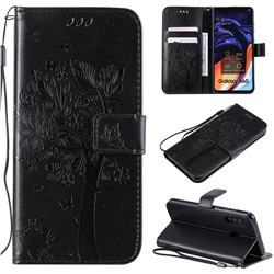 Embossing Butterfly Tree Leather Wallet Case for Samsung Galaxy A60 - Black