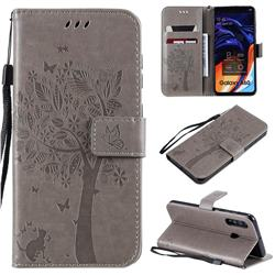 Embossing Butterfly Tree Leather Wallet Case for Samsung Galaxy A60 - Grey