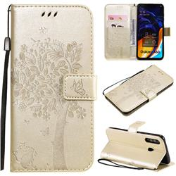 Embossing Butterfly Tree Leather Wallet Case for Samsung Galaxy A60 - Champagne