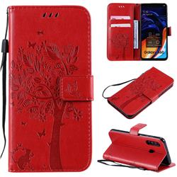 Embossing Butterfly Tree Leather Wallet Case for Samsung Galaxy A60 - Red