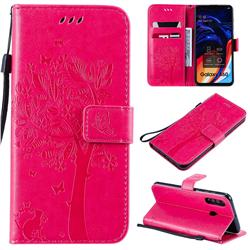 Embossing Butterfly Tree Leather Wallet Case for Samsung Galaxy A60 - Rose