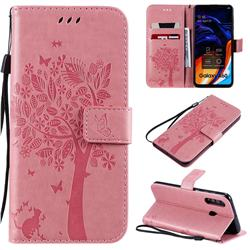 Embossing Butterfly Tree Leather Wallet Case for Samsung Galaxy A60 - Pink