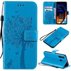 Embossing Butterfly Tree Leather Wallet Case for Samsung Galaxy A60 - Blue