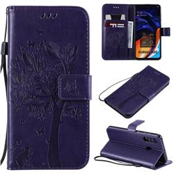 Embossing Butterfly Tree Leather Wallet Case for Samsung Galaxy A60 - Purple