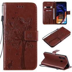 Embossing Butterfly Tree Leather Wallet Case for Samsung Galaxy A60 - Coffee