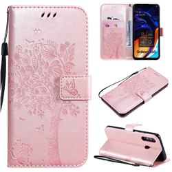 Embossing Butterfly Tree Leather Wallet Case for Samsung Galaxy A60 - Rose Pink