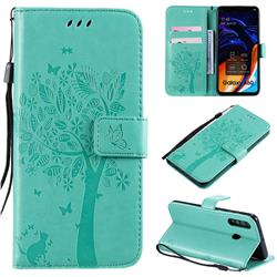 Embossing Butterfly Tree Leather Wallet Case for Samsung Galaxy A60 - Cyan