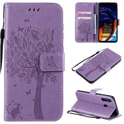 Embossing Butterfly Tree Leather Wallet Case for Samsung Galaxy A60 - Violet