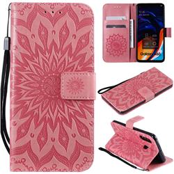 Embossing Sunflower Leather Wallet Case for Samsung Galaxy A60 - Pink