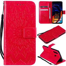 Embossing Sunflower Leather Wallet Case for Samsung Galaxy A60 - Red