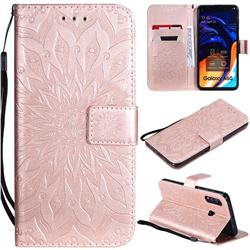 Embossing Sunflower Leather Wallet Case for Samsung Galaxy A60 - Rose Gold