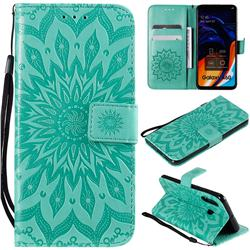 Embossing Sunflower Leather Wallet Case for Samsung Galaxy A60 - Green