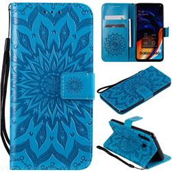 Embossing Sunflower Leather Wallet Case for Samsung Galaxy A60 - Blue