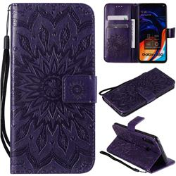 Embossing Sunflower Leather Wallet Case for Samsung Galaxy A60 - Purple