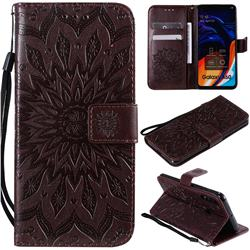 Embossing Sunflower Leather Wallet Case for Samsung Galaxy A60 - Brown