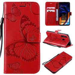 Embossing 3D Butterfly Leather Wallet Case for Samsung Galaxy A60 - Red