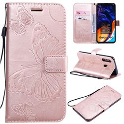 Embossing 3D Butterfly Leather Wallet Case for Samsung Galaxy A60 - Rose Gold