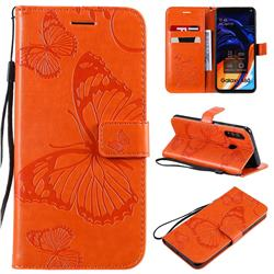 Embossing 3D Butterfly Leather Wallet Case for Samsung Galaxy A60 - Orange