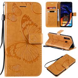 Embossing 3D Butterfly Leather Wallet Case for Samsung Galaxy A60 - Yellow