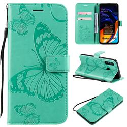 Embossing 3D Butterfly Leather Wallet Case for Samsung Galaxy A60 - Green
