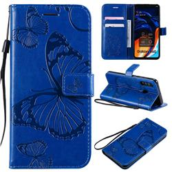 Embossing 3D Butterfly Leather Wallet Case for Samsung Galaxy A60 - Blue
